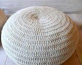 Pouf Crochet medium - ecru and gray. €59.00, via Etsy.