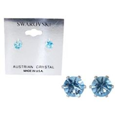 Swarovski Crystal Stud Earrings : Light Sapphire Blue in Sterling Silver with Heart-Shaped Gift Box
