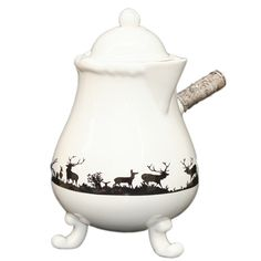 Antique {Winter Reindeer Motif} French Chocolate Pot'... Chocolatiere / Faienceries de Lunéville et Niderviller