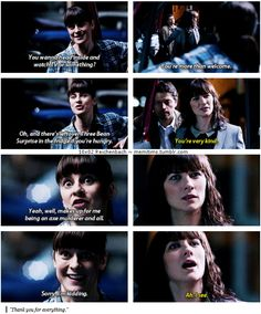 "10x02 Reichenbach [gifset] - ""makes up for me being an axe murderer and all"" - Hannah looks so confused!, Castiel, Supernatural"