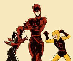 Devils by Lukico Daredevil Matt Murdock, Spider Girl, Marvel Comic Character, Geek Fashion, Good Old, The Guardian, The Man, Marvel Comics, Deadpool