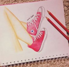 Red Converse drawing