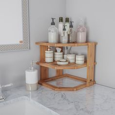 Hastings Home - 3-Tier Bamboo Corner Shelf for Kitchen or Bathroom Cabinet, Countertop, Cupboard Storage and Organizer, Natural Wood - Bamboo