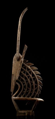 "Africa | Antelope dance crest ""tjiwara"" from the Bamana people of Mali | Wood, dark brown patina"