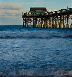 Cocoa Beach, Florida. The pier, pool, beach and dolphins