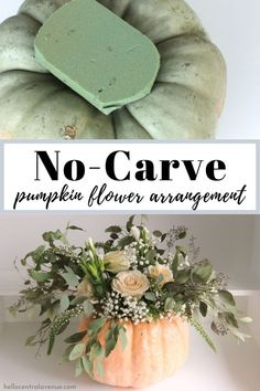 Try these easy ways to create easy pumpkin flower arrangements for your Thanksgiving table centerpiece! No need to carve your pumpkin to make a flower arrangement this fall! Pumpkin Flower, Diy Pumpkin, Pumpkin Floral Arrangements, Halloween Flower Arrangements, Fall Table Centerpieces, Centrepieces, Diy Flower, Thanksgiving Table, Have Time