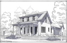 Lake House Plans, New House Plans, 3 Bedroom Plan, Exterior Rendering, Side Porch, Loft Spaces, Low Country, Urban Planning, Traditional House