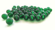 Smooth Matte Emerald Green Round Czech Glass Druk by TheDutchTulip (Craft Supplies & Tools, Jewelry & Beading Supplies, Beads, Round & Ball Beads, round, smooth, matte, seaglass, Czech, 6mm, frosted, druk, green, emerald, dark green, May, jewelry supply)