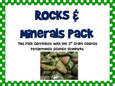 This rocks and minerals pack includes all the assessments you'd need for your rocks and minerals science unit, plust a task cards/scoot set & 2 foldables/graphic organizers...and study guides. This set correlates with the 3rd Grade Georgia Performance Science Standards.