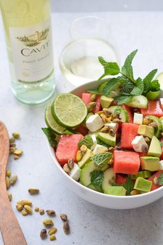 National Pinot Grigio Day: Feta, Cucumber and Watermelon Salad