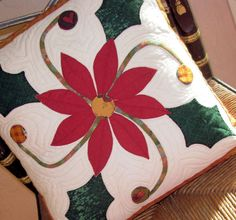 Christmas Poinsettia Pillow Cover Hand Appliqued and Quilted Christmas Mug Rugs, Christmas Poinsettia, Christmas Deco, Snowman Crafts, Christmas Crafts, Christmas Ornaments, Machine Embroidery Patterns, Applique Patterns, Cushion Cover Pattern