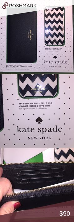 Kate Spade iPhone 6/6s chevron case & zip wallet NWT kate spade set with chevron print hybrid hardshell iPhone 6/6s case and a black universal zip wristlet. The wristlet has three interior cc slots, two side pockets and a Center pocket large enough for at least an iPhone 6. Possibly larger. kate spade Accessories Phone Cases