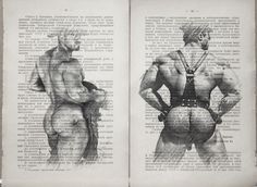 Gay erotic poster /muscular nude mens / Printing 2 pag. antique  book 19th cent. #handmade #sexy