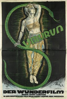 Poster for the film SUMURUN (One Arabian Night) 1921. Designed by Mihaly Biro (1886-1948).