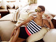 Reserved Swimsuit Summer 2016 #sixties#black&white#sripes#elegant