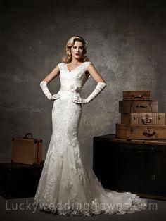 Floral Ivory Lace Cap Sleeve V-neck Mermaid Wedding Dress