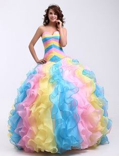 Ball Gown Colorful Organza Sweetheart Quinceanera Dress