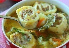 Картофельный суп с пельменями - очень простое приготовление первого блюда. Ингредиенты для супа и ленивых пельменей. Описание приготовления.