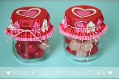 Turn old baby food jars into adorable homemade Valentine's Day gifts with this simple tutorial. These baby food jar Valentines are a great way to be resourceful and they're cute, too! Baby Jars, Baby Food Jars, Food Baby, Mason Jar Crafts, Mason Jars, Baby Food Jar Crafts, Baby Crafts, Heart Crafts, Yogurt