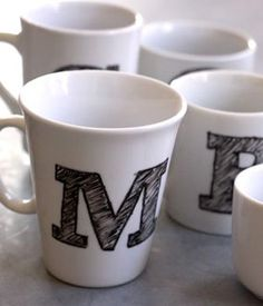 DIY Monogram Mugs. Package with hot chocolate packets and mini marshmallows for a perfect gift!