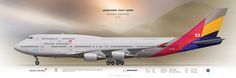 Boeing 747-400 Asiana Airlines HL7421 | Airliner Profile Art Prints www.aviaposter.com | Airliners profile print | #airliners #aviation #jetliner #airplane #pilot #avia #airline