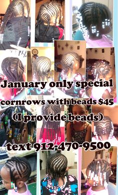 JAMI'S BRAID DESIGNZ AND DREADS  JANUARY ONLY SPECIAL -- CORNROWS WITH BEADS (I PROVIDE BEADS) TEXT 912-470-9500 TO SCHEDULE APPOINTMENTS  CHULA VISTA, CA