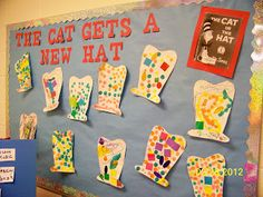 Fun craft and bulletin board idea for Dr. Could pair with writing that explains WHY the cat needs a new hat! :+) Best Picture For dr seuss crafts for teachers For Your Taste You are looking for Dr Seuss Bulletin Board, Preschool Bulletin Boards, Classroom Crafts, Preschool Activities, Classroom Ideas, March Bulletin Board Ideas, Kid Activites, Bullentin Boards, Birthday Activities
