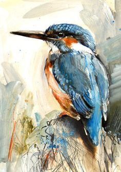 "Saatchi Online Artist Lucy Newton; Mixed Media, ""Kingfisher"" #art"