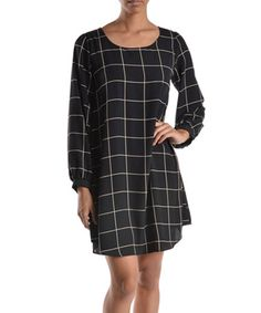 Look what I found on #zulily! Black Windowpane Shift Dress by Lila #zulilyfinds