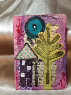 Jack of Diamonds Skinny Happy House - Altered Playing Card Collage (OOAK) Using Inks, Papers, Fabrics/Lace, Paint & Handcarved Stamps