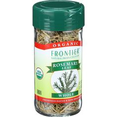 Frontier Herb Rosemary Leaf - Organic - Whole - .85 oz - Rosemarys woody scent and minty flavor bring a balsamic deliciousness to sweet and savory dishes alike. Botanical Name: Rosmarinus officinalis L.Product Notes: Sweet, aromatic rosemary, which means dew of the sea in Latin, especially enjoyed in Italian and Mediterranean cuisine. Try it in stews, marinades, meat and potato dishes, tomato-based sauces, breads, pizza and apple jelly.Origin: SpainOrganic: QAI Certified OrganicKosher: KSA…