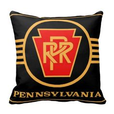 """Pennsylvania Railroad Logo, Black & Gold Pillows; $32.95 - #stanrail - Polyester Throw Pillow 16"""" x 16"""" ; Accent your home with custom polyester pillows from Zazzle. Made of a high quality Simplex Knit fabric, these 100% Polyester pillows are soft and wrinkle free. The heavy weight stretch material provides great color definition for your designs, text, monogram, and photos. The perfect complement to your couch, custom pillows will make you the envy of the neighborhood  @stanrails_store"""