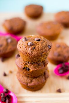 Vegan Pumpkin Chocolate Chip Muffins are soft and loaded with delicious sweet pumpkin and chocolate while being very healthy and gluten free!