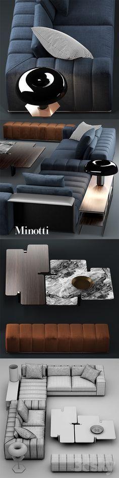 3d models: Sofa - Sofa minotti freeman seating system