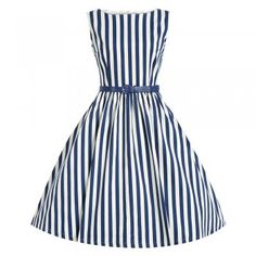 Audrey Blue Stripe Swing Dress | Vintage Style Dresses - Lindy Bop