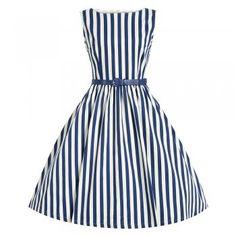 Audrey Blue Stripe Swing Dress   Vintage Style Dresses - Lindy Bop