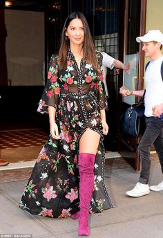 Relies on stylist Jessica Paster: The actress left little to the imagination in the black leggy creation, which she paired with cranberry-suede thigh-high boots Over The Knee Boot Outfit, Dress With Boots, Casual Skirt Outfits, Fall Outfits, Olivia Munn, Thing 1, Sheer Dress, Thigh High Boots, Ladies Dress Design