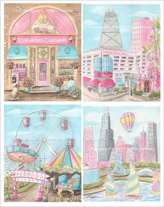 Absolutely adorable Chicago themed Pink art prints for girls! There are 4 prints in this set and you can buy any 1 print - or a set of 3 or 4. They're available in 8 x 10 or 16 x 20.