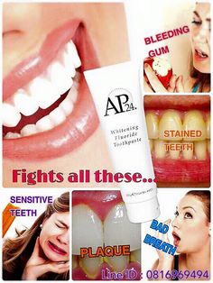 Whitening Fluoride Toothpaste lightens teeth without peroxide while preventing cavities and plaque formation. Safe for children Ap 24 Whitening Toothpaste, Best Toothpaste, Whitening Fluoride Toothpaste, Skin Whitening, Stained Teeth, Pasta, Dentistry, Good Skin, Natural Skin Care