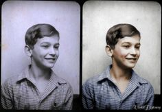 Anne Frank's love, Peter Schiff, in his school photograph.  A handsome boy, it's easy to see why Anne fell for him; it's also easy to see that he was a real boy, just like any boy alive today! Colorized by VividHistory.