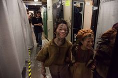LES MIZ kids Joshua Colley and Mia Sinclair Jenness head up to stage at the places call. Photo by maxgordonphotography.