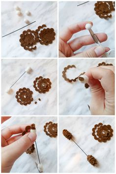 Use a flower pattern to create acorns instead Felt Flowers, Little Flowers, Fabric Flowers, Felt Diy, Felt Crafts, Christmas Ribbon Crafts, Ribbon Flower Tutorial, Bow Tutorial, Making A Bouquet
