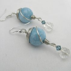 Gemstone Earrings hand made wire wrapped by Adien Crafts England - Adien Crafts