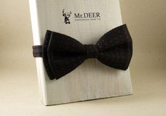 Black and Red Spotted Bow Tie - Ready Tied Bow Tie - Adult Bow Tie - Mens bowtie - Groomsman, Wedding Bow Tie - Gift for Him - Mr.DEER