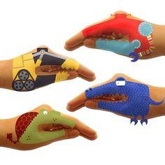 fun!  robot and dino temporary hand tattoos.