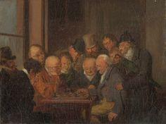 """Louis Leopold Boilly - """"Café de la Regence"""" - 1792 (Se supone que el jugador de la izquierda es Philidor, famoso musico y ajedrecista)"""