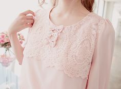 Pale Pink Top ~ Lace & Bow Perfection