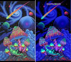 UV Wallhanging : Cosmic Shrooms Hand painted & printed batik wallhanging / tapestry UV Active ! Size 1.2m x 1.9m 100% rayon, fully machine washable. (Wash seperately the first time as colours may run.) Artwork by Budi Rasta