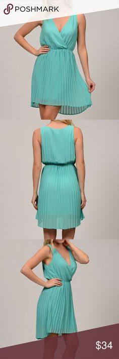 "🌀1hr sale🌀 Sheer Pleated Dress Gorgeous pleated, lined sheer Dress!! This is perfect for a Summer Wedding!!💕💕 Beautiful mint/medium green color! V-neckline, elastic waist, lining is 1"" shorter than the sheer dress to give a sexy look! 100% polyester. Moon Collection Dresses"