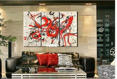 3066 Handpainted 3 Piece Black White Red Wall Art Modern Abstract Oil Painting On Canvas Decorations For Home $45.00
